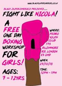 A one day boxing workshop for girls at Pedro Youth Club